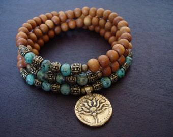Women's African Turquoise Sandalwood Mala - Bronze Lotus Mala or Choose a Charm - Yoga, Buddhist, Meditation, Prayer Beads, Jewelry