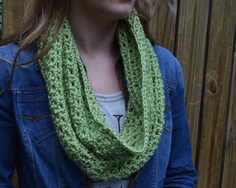 Sage green crochet cowl infinity scarf