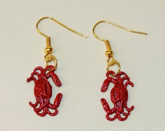 Beautiful Red Painted Crab Earrings