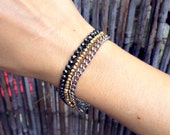 Lucina - Layered Hematite, Gold, and Silver Chain Gemstone Bracelet