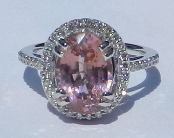 Natural Untreated San Diego 4.04 Carat Pink Tourmaline & Diamond Ring 14KT Gold W/ Appraisal