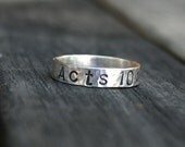 Personalized Sterling Silver Ring - Custom Bible Scripture