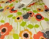 Cotton Table Runner or Table Cloth or Set of 4 Placemats - Orange Red Yellow Poppies On Beige Background