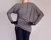 Wide Asymmetric Blouse/ Long asimmetric Sleeves Top / Off-shoulder / Loose Design / Italian Grey Jersey/ СН010