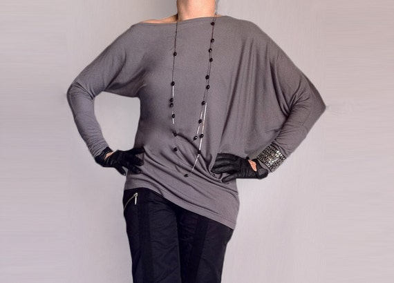 Wide Asymmetric Blouse Off Shoulder Asimmetric Sleeves Top  Off-shoulder Blouse Loose Design Italian Grey Jersey Made to Masure Shirt/ СН010