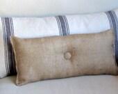 natural burlap lumbar style toss pillow with button
