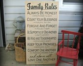 Family Rules - 18x36 inch - Painted Wooden Typography Art Sign