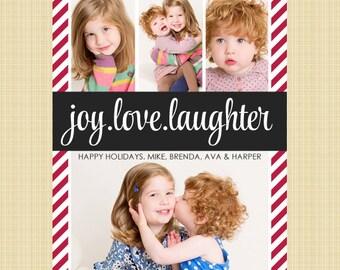 Christmas photo card - Joy, love, laughter - 4 photos
