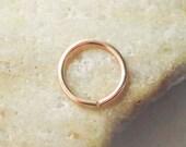 14K Rose Gold Filled Cartilage Hoop Earring, 18 Gauge Pink Gold Nose Ring, Helix Piercing, Rook Hoop, Daith Hoop, Tragus Hoop