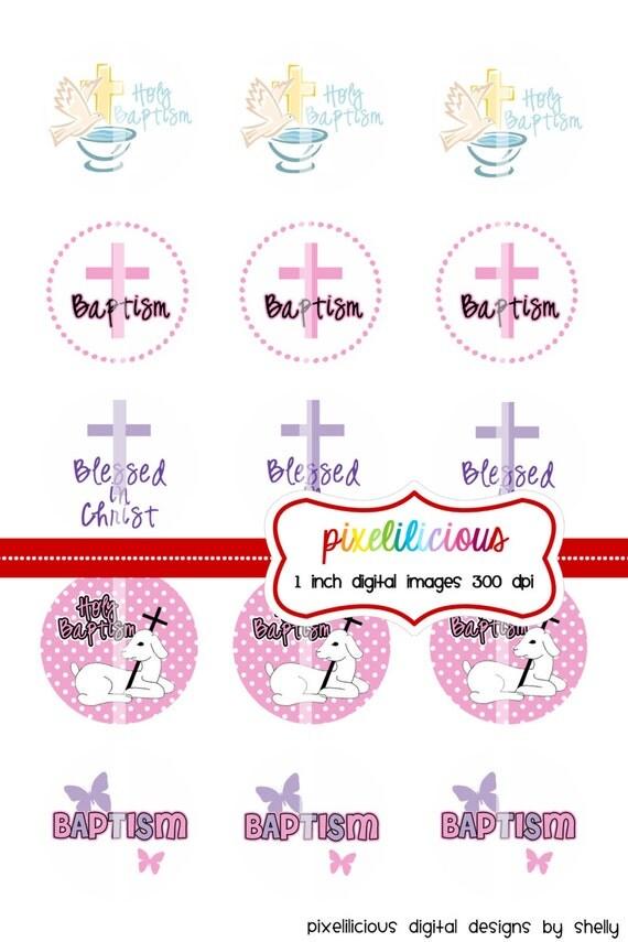 Bottle Cap Image Sheet - Instant Download - Baptism -  1 Inch Digital Collage - Buy 2 Get 1 Free