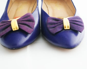 Heel - Purple Faux Leather Low Heel with Bow size 6