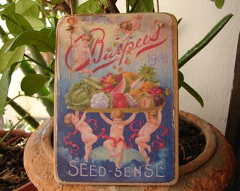 vintage cherubs seed packet image,wooden,decorative hanging tag-shabby chic avertising