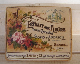 Shabby chic,Extrait aux Fleurs small French advertising,small wooden tag/sign