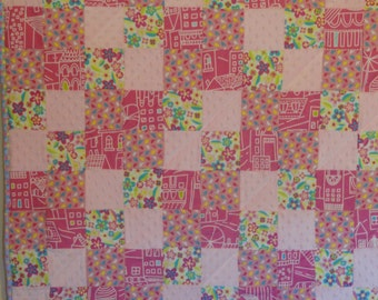 Pink.  Mod, Flowers, City Life on a Patchwork Flannel and Minky Baby Quilt.  Riley Blake Designer Fabric. So soft,  Turquoise, Lime Green.