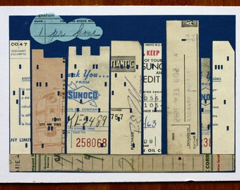 City Blues, New York City collage from vintage ephemera, receipts, blue and beige, Sunoco, paper, city street, buildings, original