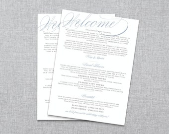 Scripted Elegance // Destination Wedding Welcome Note // Wedding Welcome Bag // Custom Printable PDF