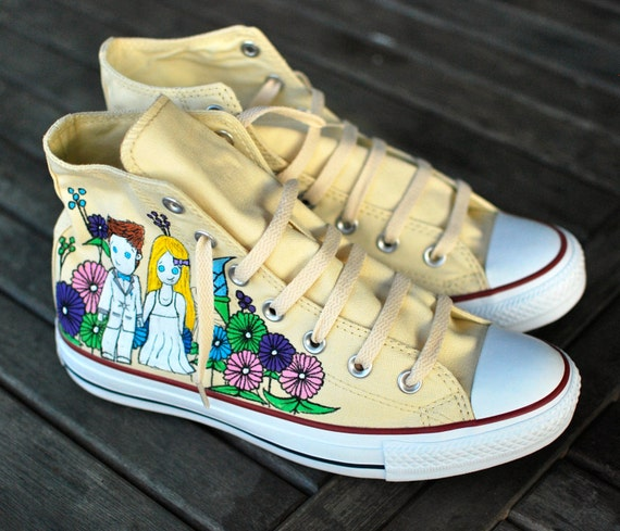 Custom Hand Painted Wedding Converse Chuck Taylor All Star Hi Tops