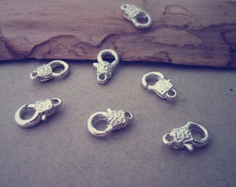 15pcs Silver color Lobster Clasps with pattern 7mmx12mm