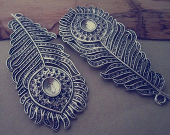 2pcs Antique silver feather pendant Charms 32mmx79mm