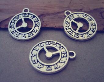 20pcs Antique Silver clock  pendant charm 19mm