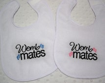 Twins - Baby Boy and Baby Girl Twins Womb Mates Set of 2 bibs Gift Set - Baby Boy and Girl Twin Bibs - Blue, Pink and Black - Twin Gift Set