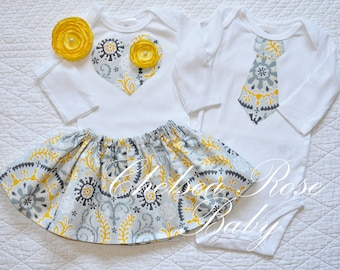 Twins Baby Outfit, 2 matching Bodysuits, INCLUDES skirt and headband, yellow and grey twins outfits, sibling outfits