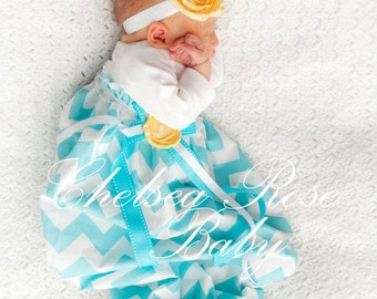Baby Girl Dress, Baby Girl bodysuit Dress, Aqua Chevron Dress, Newborn Sleep Gown, Layette, Baby Nightgown, Newborn Sleep Sack, Baby Girl