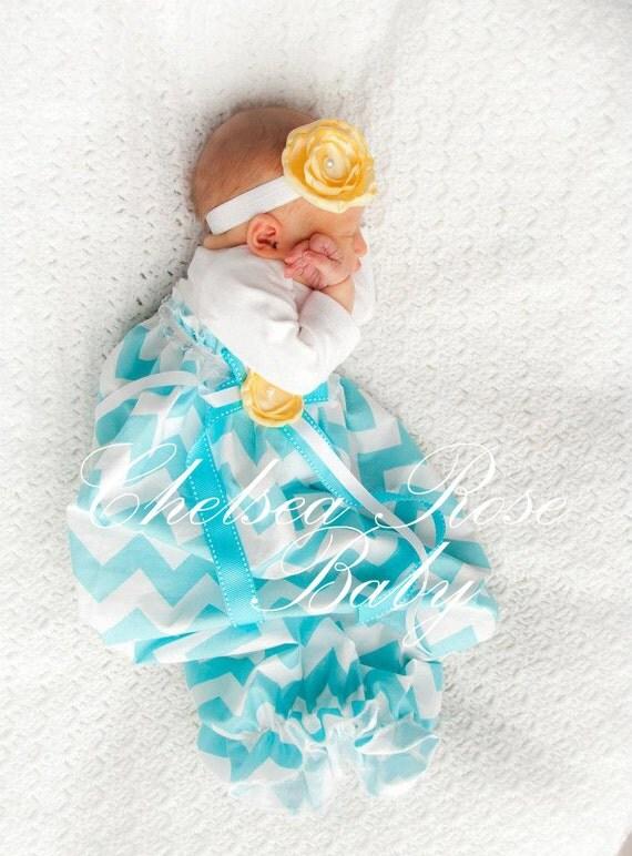 Baby Girl Dress Baby Girl bodysuit Dress Aqua Chevron Dress