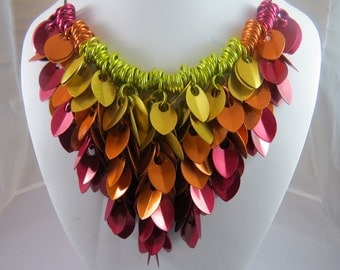Fire Shaggy scale necklace