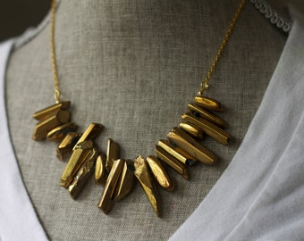 Gold luster stone Necklace, Statement Necklace, Rustic, Gold Chain