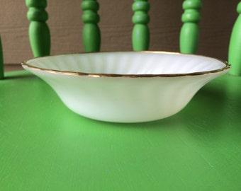 Vintage Fire King Swirl Milk Glass Bowl with Gold Trim
