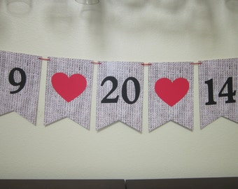Save The Date Wedding Pennant Banner Photo Prop ~ Cardstock