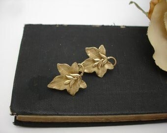 Leaf Earrings 14k Gold Earrings Leaves Screwback Vintage Earrings