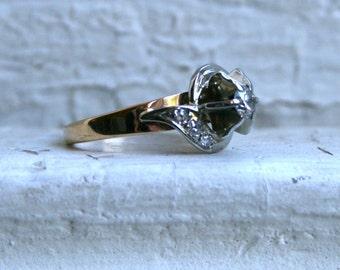 Vintage 18K White/ 14K Yellow Gold Diamond Engagement Ring.
