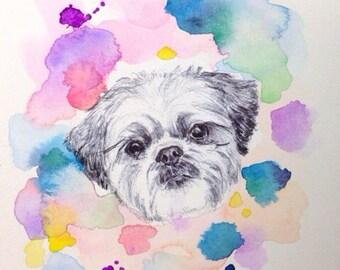 Custom Pet Portrait - Photos to paintings, Personalized dog art, pet art, shih tzu, Orchid, Christmas stocking stuffer, personalized present
