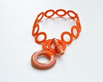 Crochet necklace / Orange modern necklace / Cotton choker whit circle ceramic pendant / Crochet jewelry / Unique gift for her