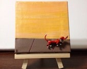 Dachshund Dog Brooch - Mini Art Canvas - For Dog lovers - little Red vintage Dog brooch