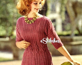 1960s Dress with Midriff Cables and Ribs, Three Quarter Sleeve - Knit PDF pattern 2913