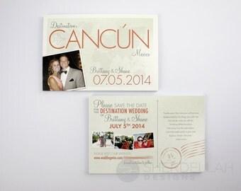 Destination Wedding: Travel Theme Save the Date Postcards - Set of 50