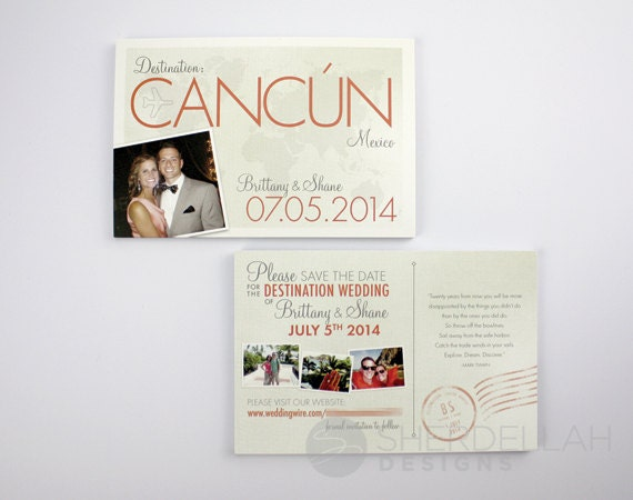 destination wedding travel theme save the date postcards