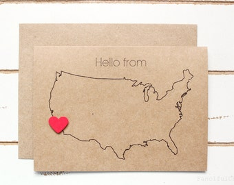 Hello From USA Map - Customized Stationary Cards