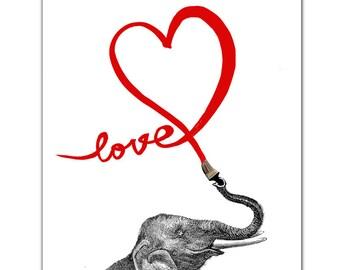 "LOVE -Mother's day, heart print, words, pop art, posters with elephant - ART Print 8"" x 10""ART Print 8 x 10"""