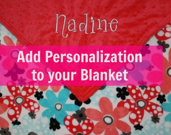 Add Personalized Embroidery to your Blanket - Personalize a Blanket - Embroidery Available