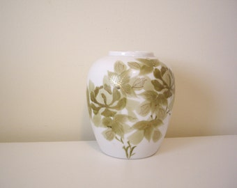 Reduced - Vintage White Porcelain Vase with Green Leaves and Gold Accents