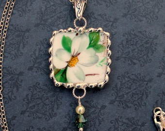 Necklace, Broken China Jewelry, Broken China Necklace, Square Pendant, White Dogwood China, Sterling Silver, Soldered Jewelry