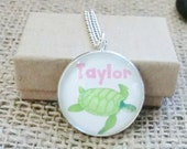 Turtle Girls Childrens Personalized Pendant Necklace Turtle Pendant Gift