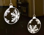6 Inch Decal Cling Snowflake Baubles Set of 9 White Window Clings