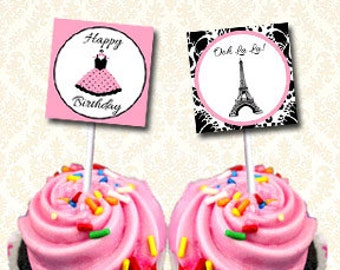 Paris Cupcake Toppers, Printable Eiffel Tower Happy Birthday Tags, Paris Chic Labels, French Birthday Party Stickers DIY