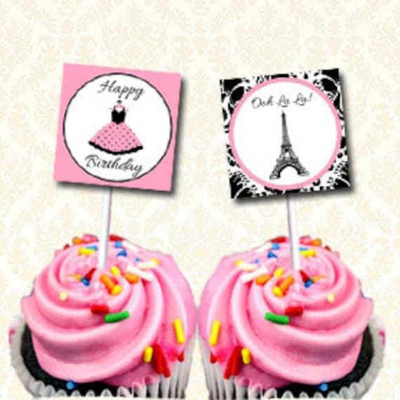 paris cupcake toppers imprimable tour eiffel joyeux. Black Bedroom Furniture Sets. Home Design Ideas