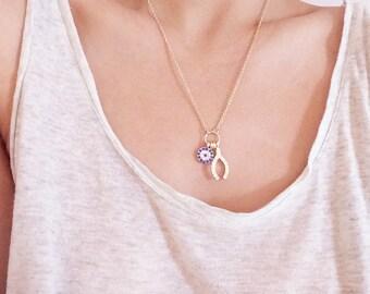 Zirconoa Crystal Evil eye with Wishbone gold necklace